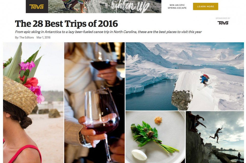 "Outside Magazine (USA) – ""The 28 best trips of 2016"""