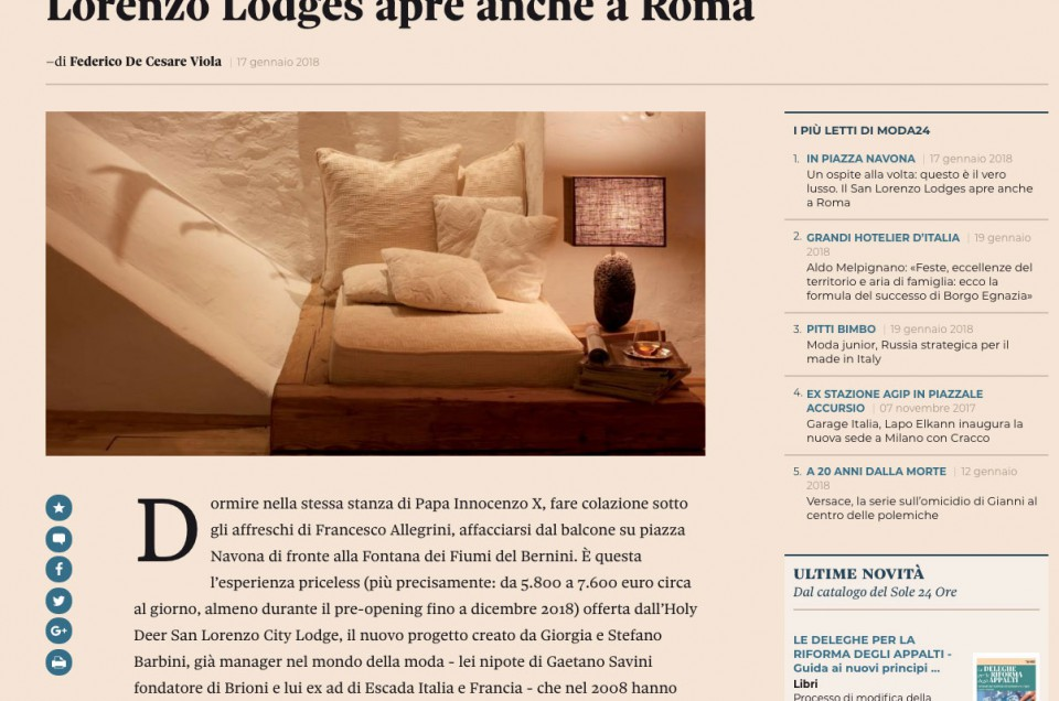 Il Sole 24 Ore online, January 2018