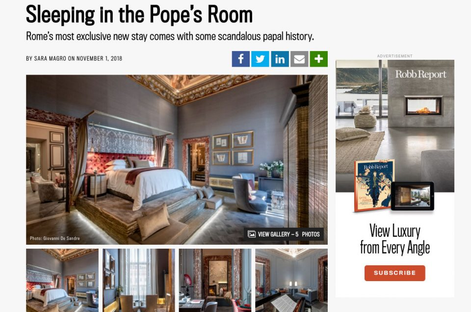 Robb Report: Sleeping in the Pope's Room