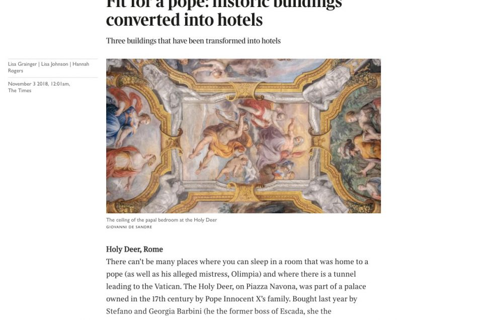 The Times - Fit for a pope: historic buildings converted into hotels